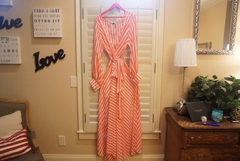 EXCLUSIVE NEW ARRIVAL by Tasha Cobbs!! Pink/Cream Striped Maxi Dress: Size 2X