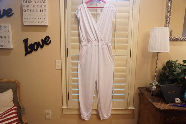 EXCLUSIVE NEW ARRIVAL from Tasha Cobbs!! White Sleeveless Romper: Size 1X