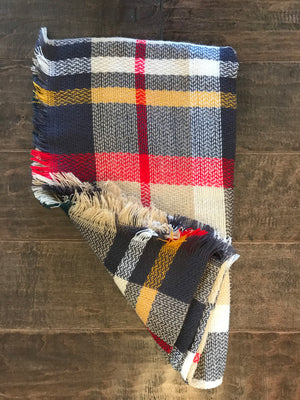 Tan Plaid Infinity Scarf: ONE SIZE