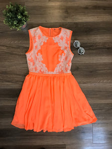 Neon & Lace Skater Dress! Size S