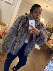 Vintage Gray Fur Jacket: Sz S