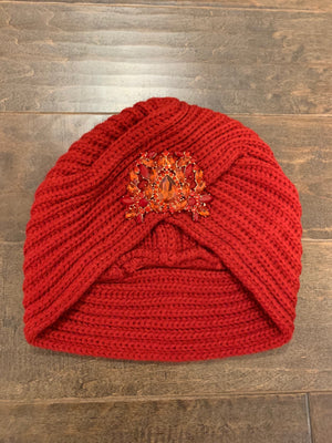 Crimson Knitted Turban: ONE SIZE