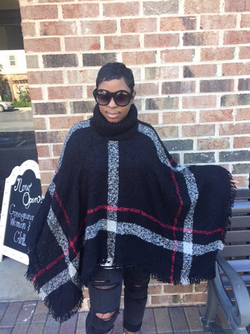 NEW! Black Knitted Turtleneck Cape: ONE SIZE