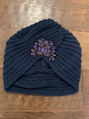 Navy Knitted Turban: ONE SIZE