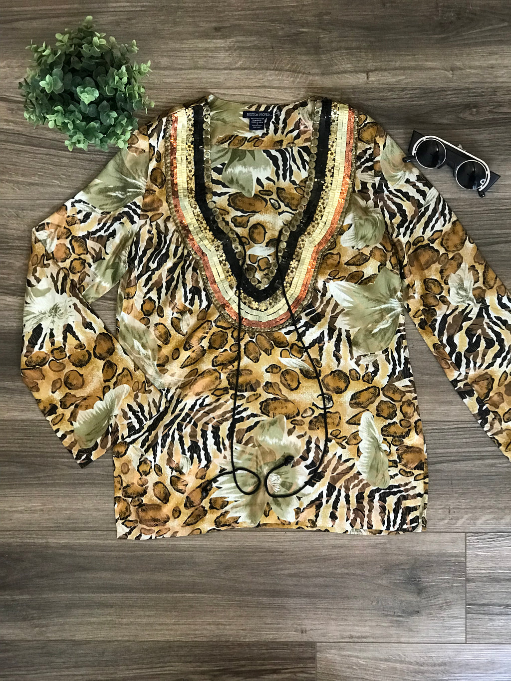 Boston Proper Leopard Satin Tunic: Size S
