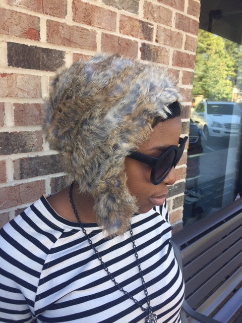 NEW!! Rabbit Fur Aviator Hat: ONE SIZE