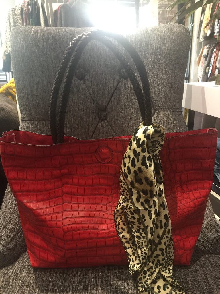 Faux Leather Crocodile Tote