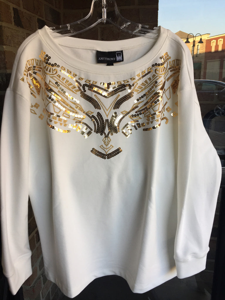 Antthony Sequined  Cream Sweatshirt: Sz L