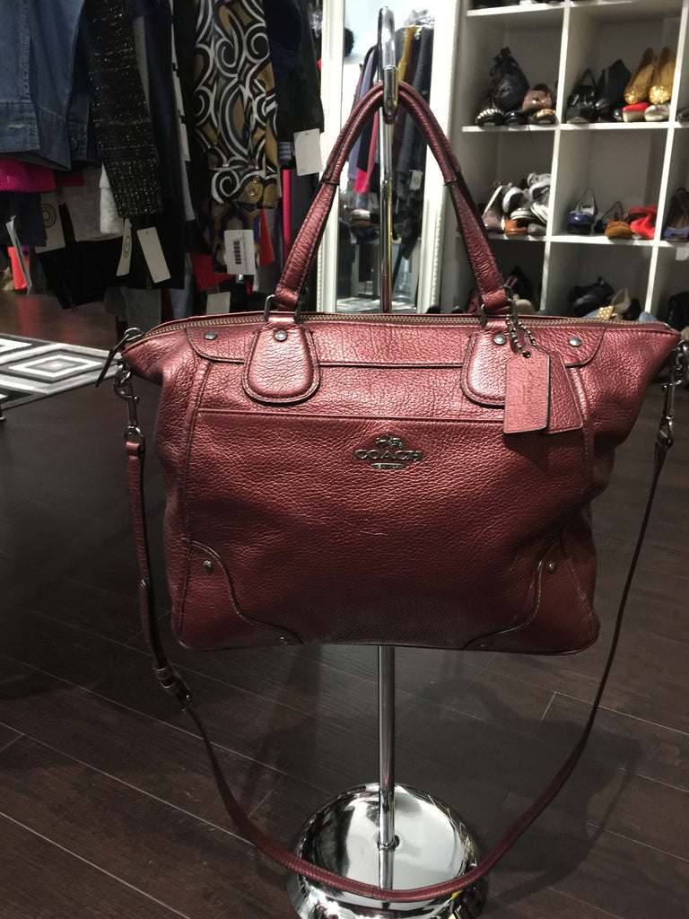 Coach Metallic Cranberry Handbag w/ Wallet