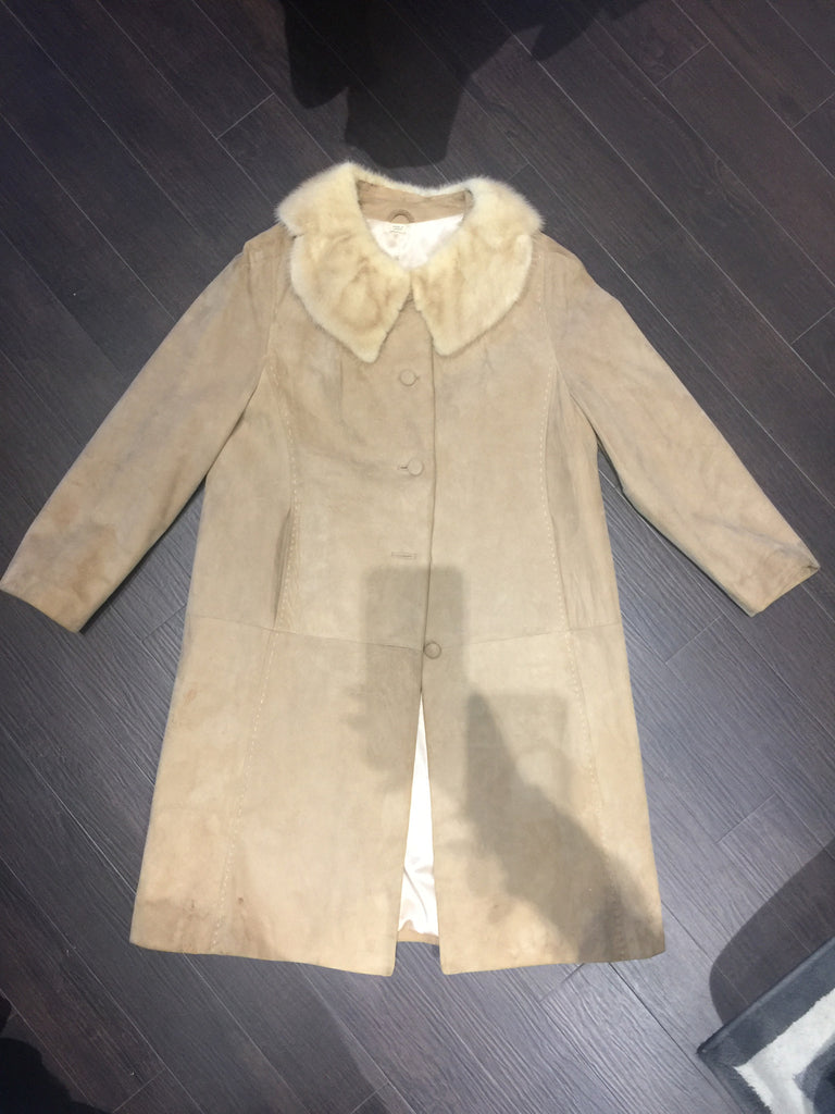 VINTAGE Suede/Fur Swing Coat: Sz S/M