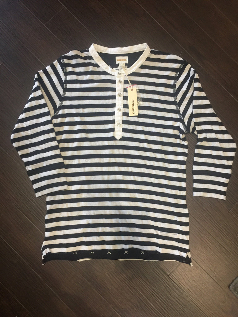 Men's Diesel Black/White Stripped Shirt: Size L