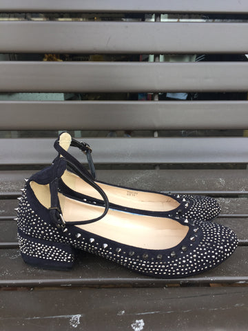 Black Studded/Spike Anklet Flats: Sz 11