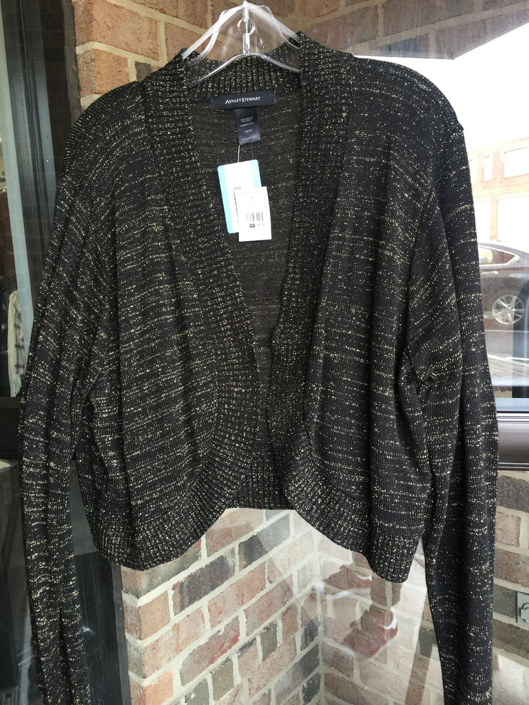 Ashley Stewart Blk/Gld Shimmer Cardi: Sz 18/20