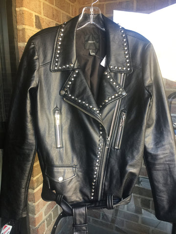 Forever 21 Faux Leather Studded Jacket: Sz S