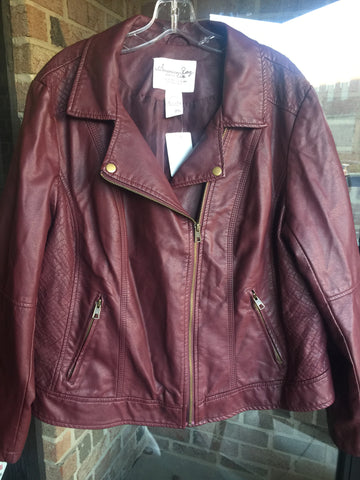 American Rag Maroon Faux Leather Moto Jacket: Sz 2X