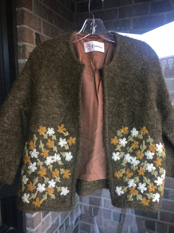 """Vintage"" Knits by Camelon Olive Embroidered Jacket: Sz S"