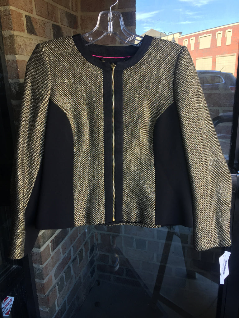 Ted Baker Blk/Gold Tweed Jacket: Sz S