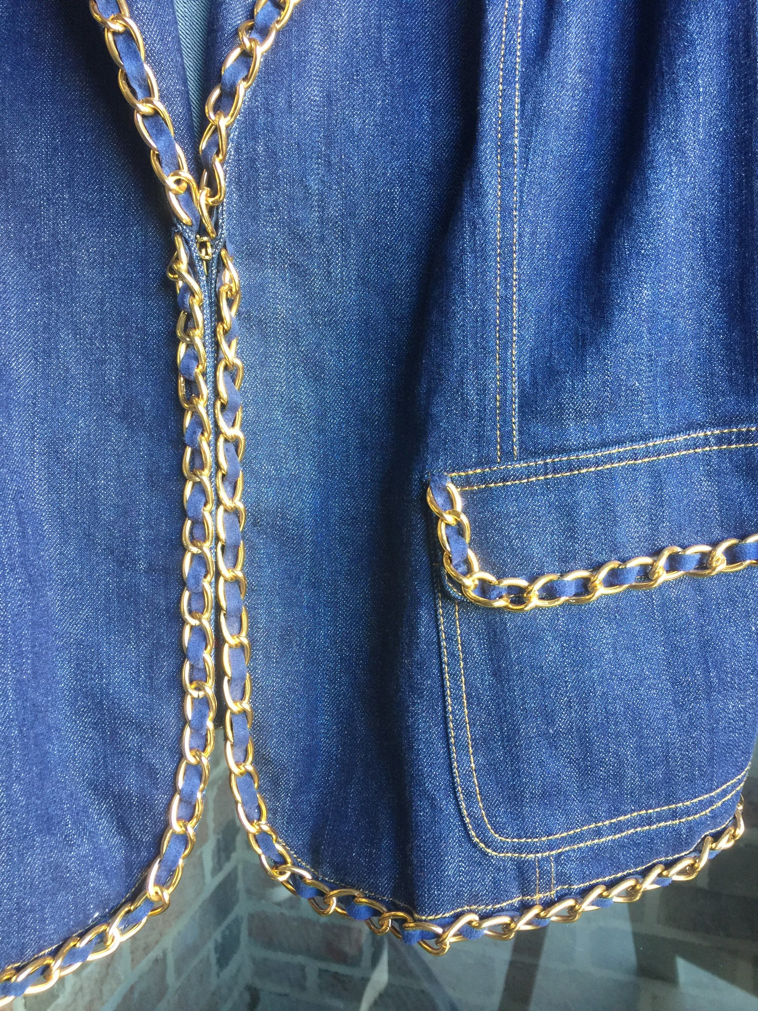 Randolph Duke Gold Chained Denim Blazer: Sz 20
