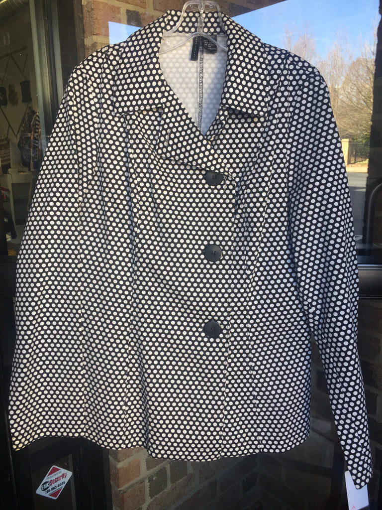 Black Polka Dotted Jacket: Sz L