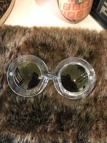 Clear Framed Round sunglasses