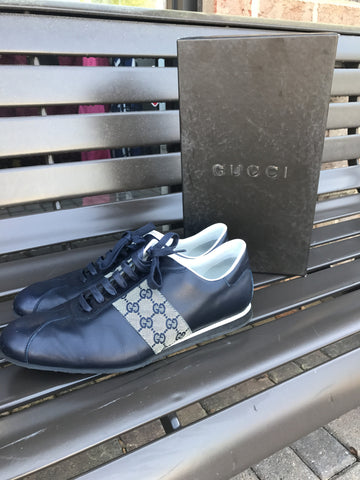 Gucci Navy Monogram Sneakers: Sz 12