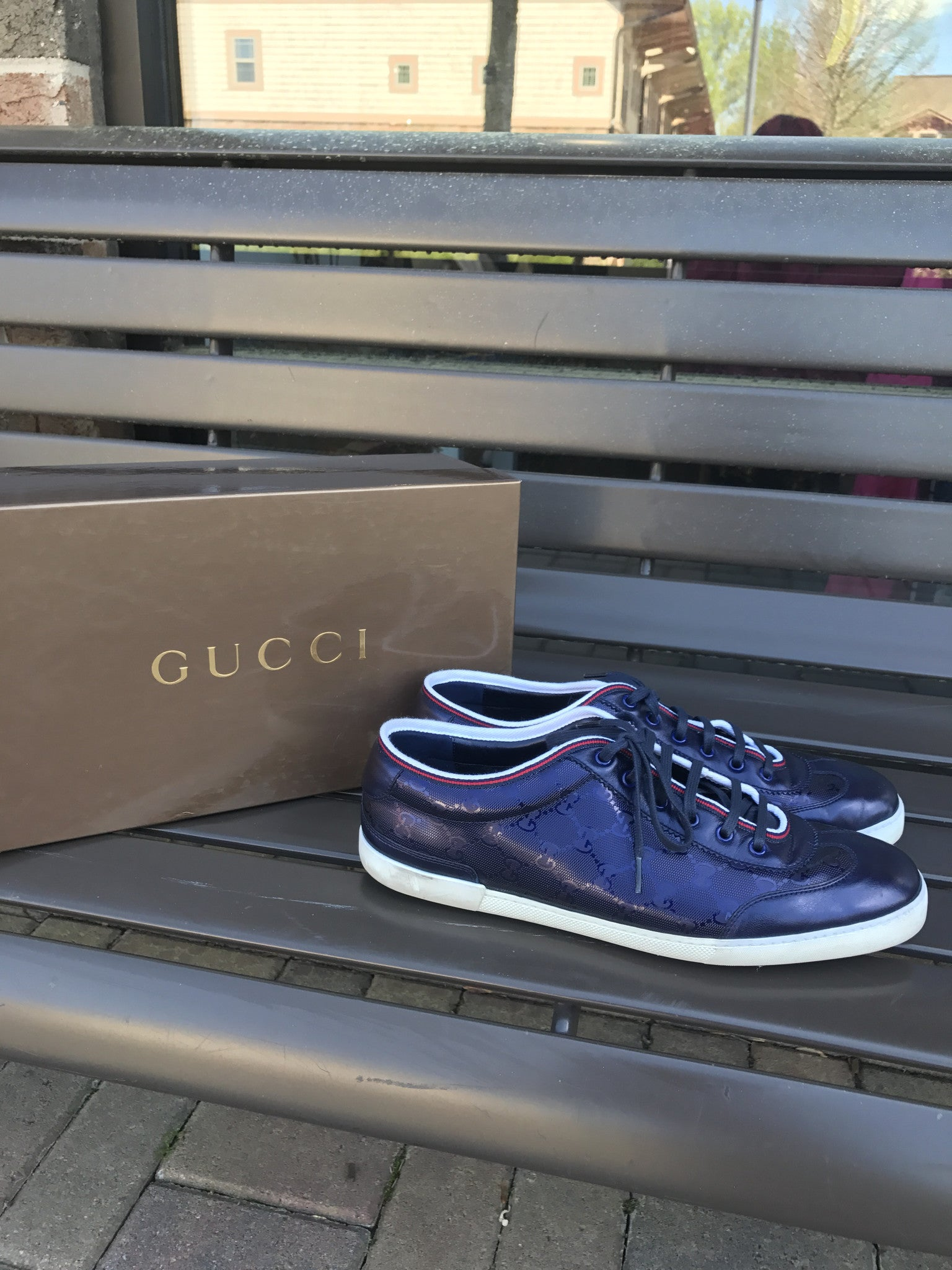 Gucci Navy Iridescent Sneakers: Sz 12
