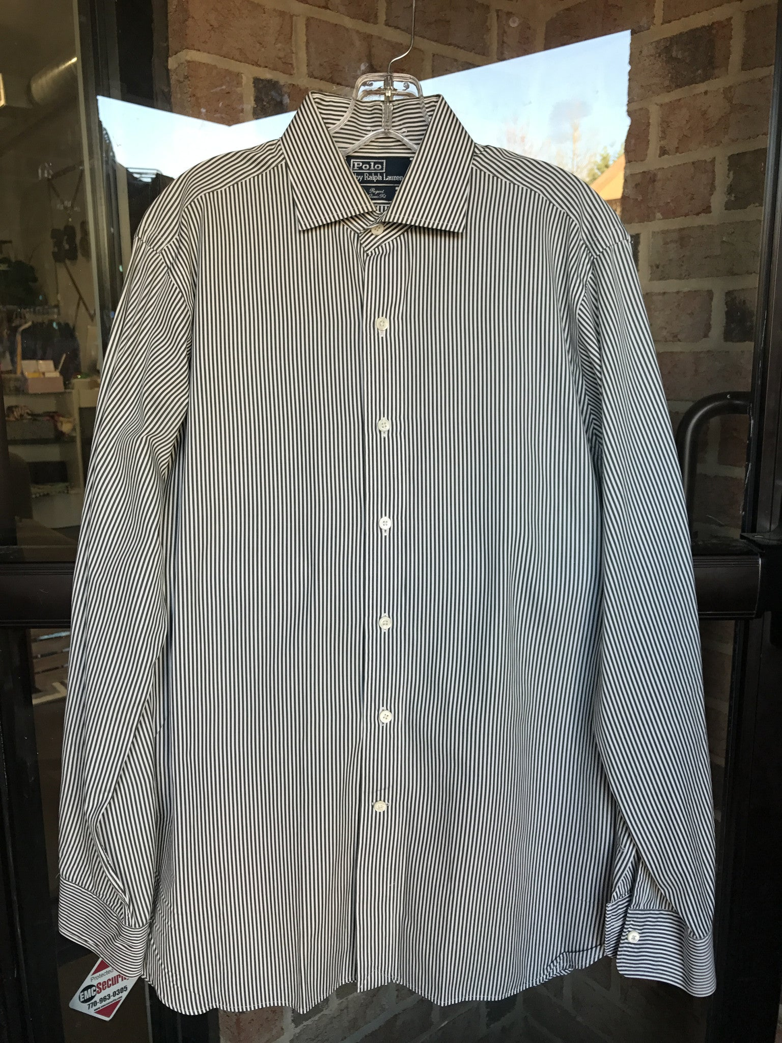 Polo by Ralph Lauren Evergreen Stripe Shirt: Sz 16-35