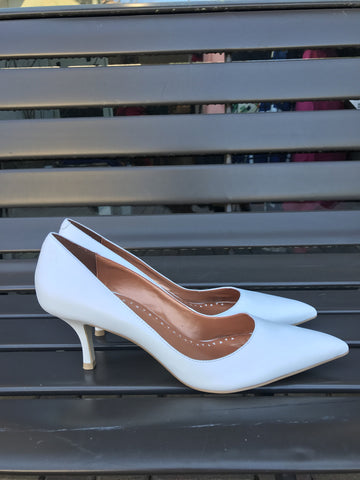 Bronx White Leather Pumps: Sz 40 (9)