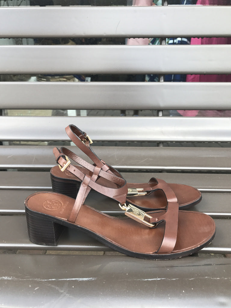 Tory burch Chocolate Leather Sandals: Sz 8