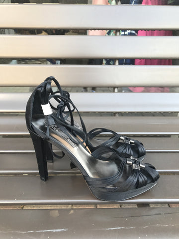BCBG Black Satin Heels: Sz 6.5