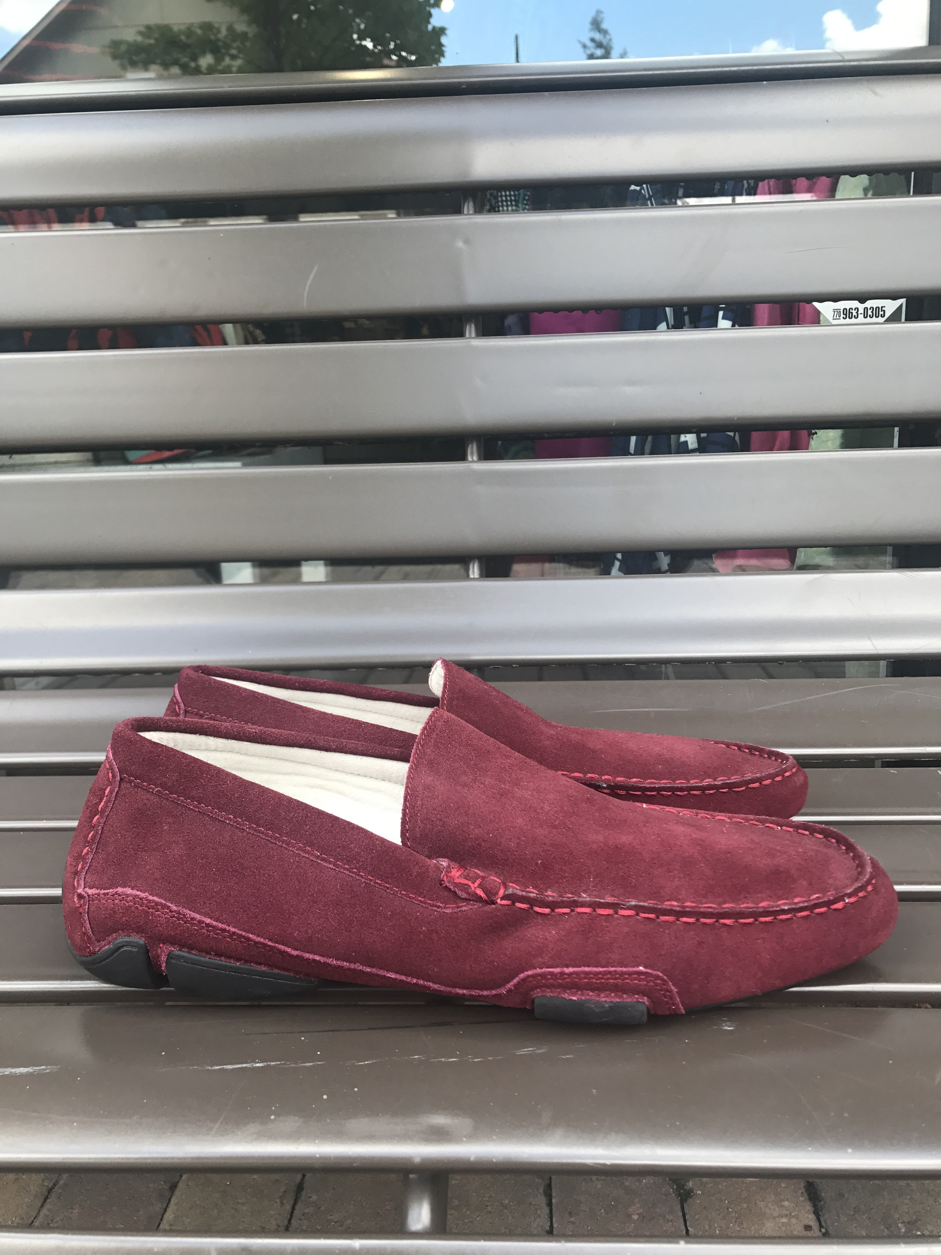Kenneth Cole Maroon Suede Driving Moccasins: Sz 11.5