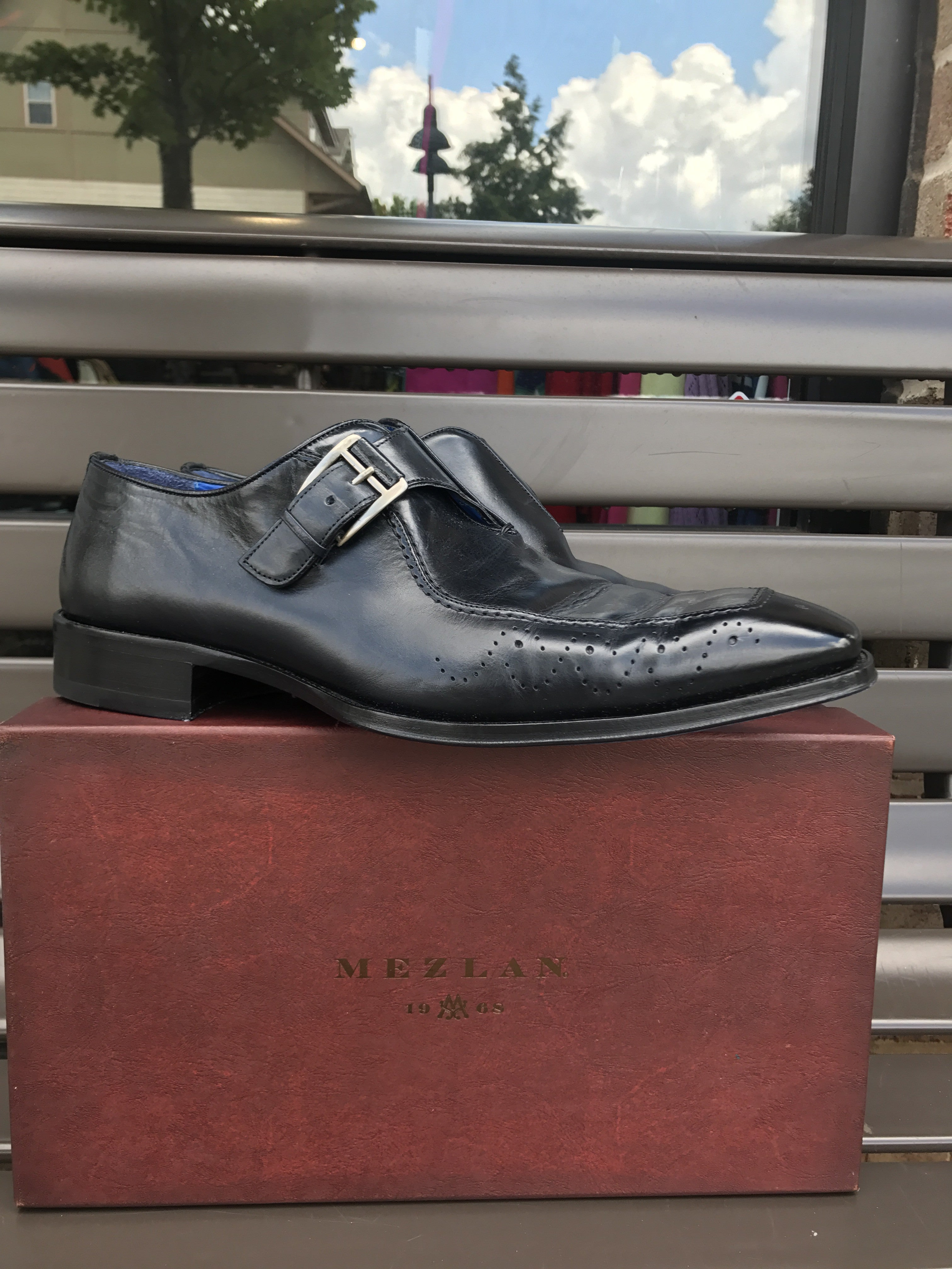 Mezlan Navy Buckled Loafers: Sz 12