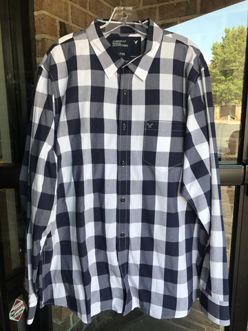 American Eagle Navy Plaid Shirt: Sz 2X