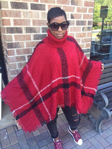 NEW! Maroon Knitted Turtleneck Cape: ONE SIZE