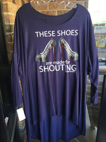 """Shouting Shoes"" Navy Top: Sz XL"