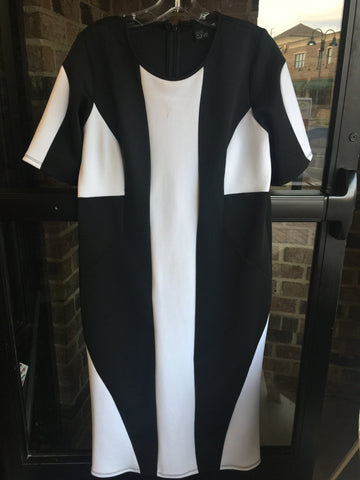 Asos Black & White Midi Dress: Sz 14