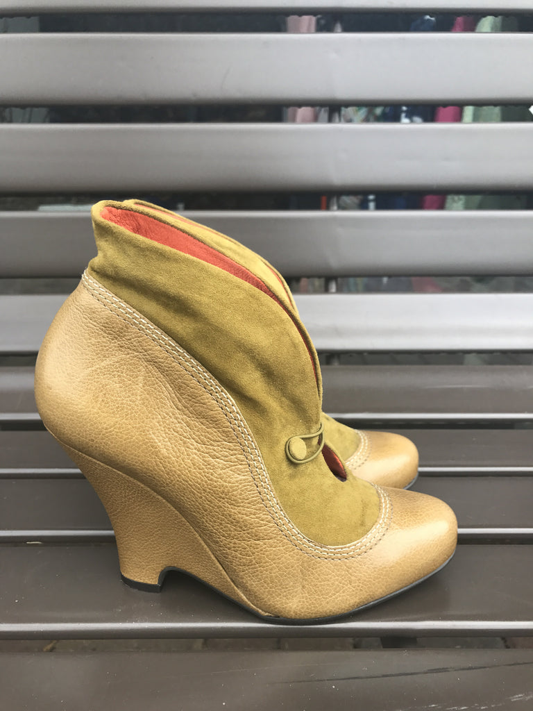 Radley London Olive Leather Booties: Sz 38