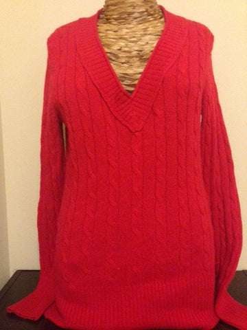 Anne Taylor LOFT Red Pullover Cardi: Size S