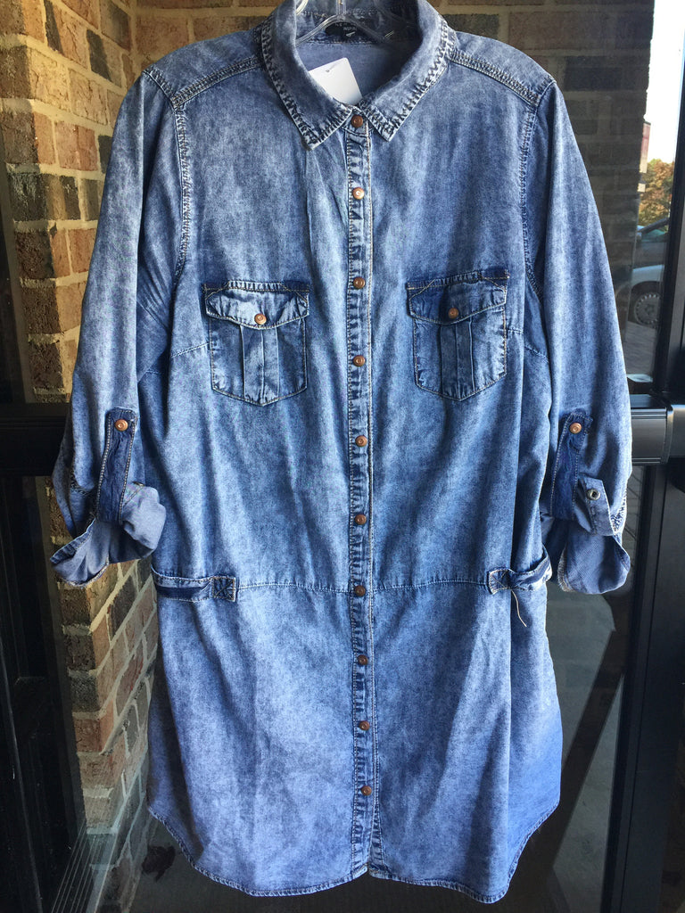 Stone Washed Denim Shirt: Sz 18
