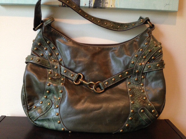 Olive Studded Hobo Handbag: Large Size