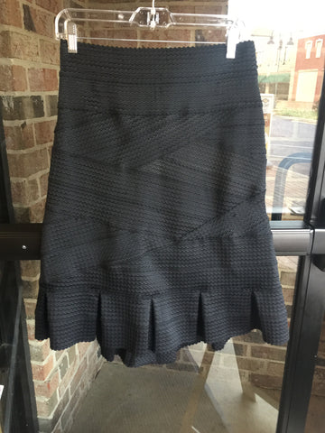 Black Ribbed Flair Skirt: Sz L