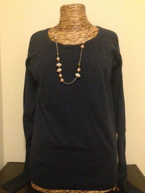 Navy Balloon Sleeve Sweater: Size M