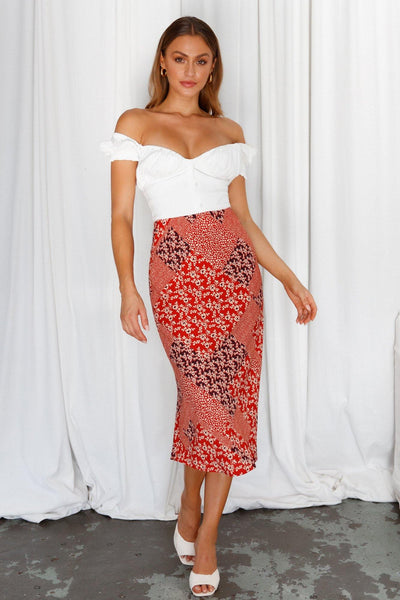 Summer Day Midi Skirt Red | Hello Molly USA