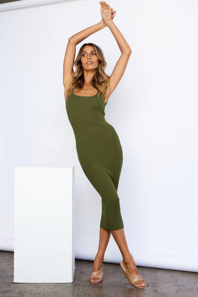 The Little Things Midi Dress Khaki