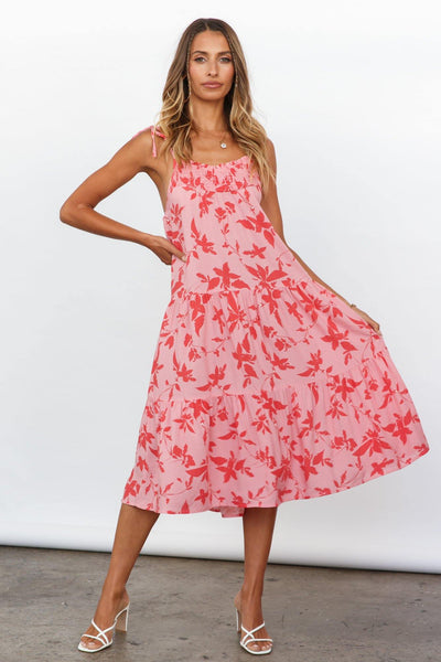 Strawberry Hills Midi Dress Pink | Hello Molly USA