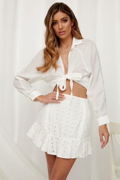 Afternoon Lovers Mini Skirt White