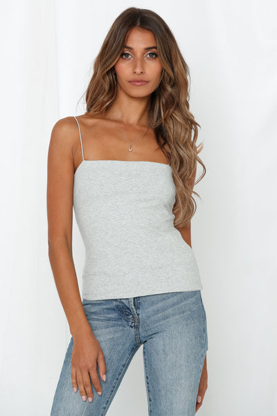 Be Mine Rib Cami Top Silver Marle Grey