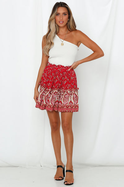 To India and Back Skirt Red