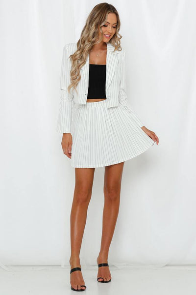 LIONESS High Life Pleat Skirt White
