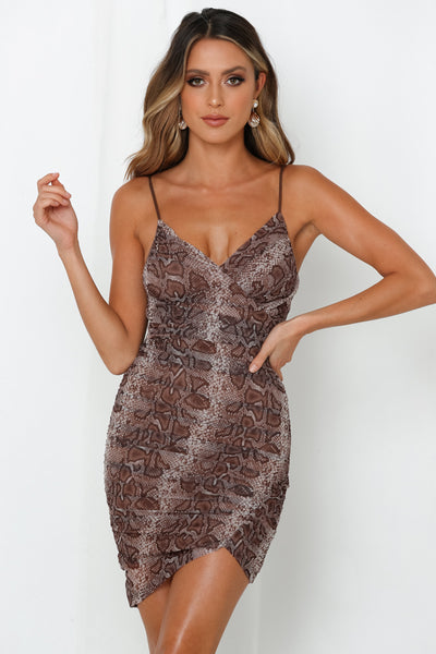 Mesh It To The Top Dress Brown
